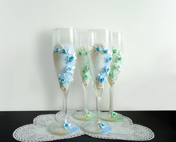 Beautiful Hand Decorated Romantic Wedding Anniversary Champagne Glasses Toasting Flutes Beads Polymer Clay Flowers Blue Green Pink Purple