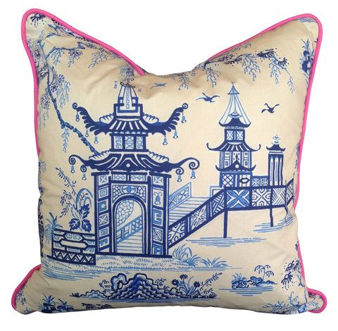 Blue and White Pagoda Cushion Cover with Pink Piping