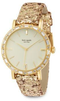 Kate Spade New York Metro Grand Pavé Goldtone Stainless Steel & Interchangeable Glitter Leather Strap Watch