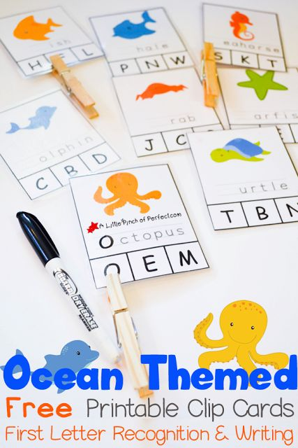 Ocean Themed Printable Clip Cards for First Letter Recognition and Writing