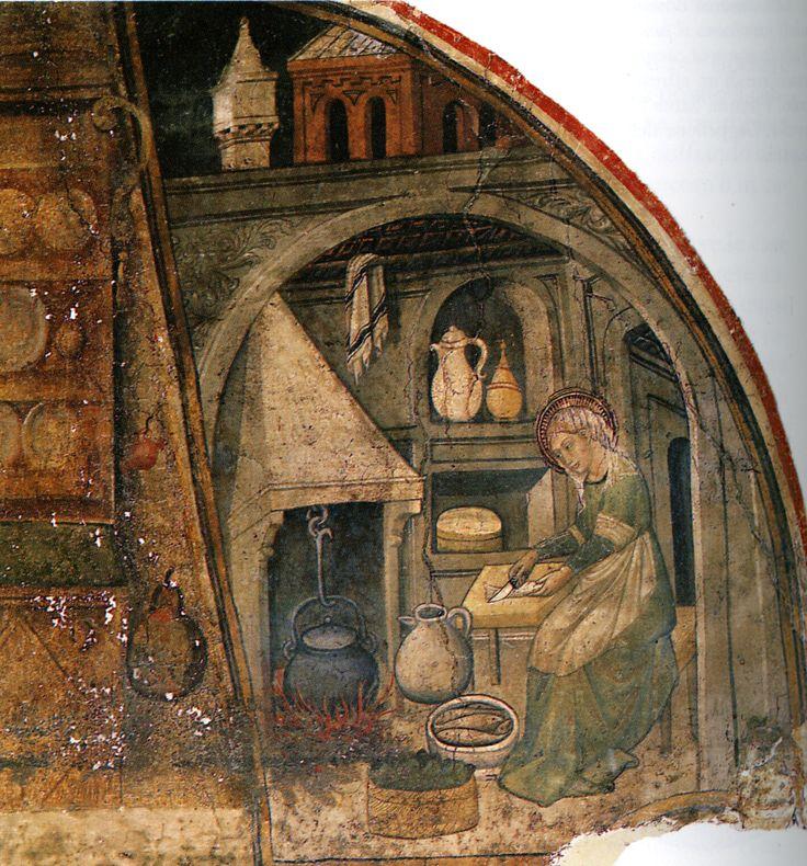 Rappresentazione tipica di una cucina di età tardomedievale. Kitchen and table in the Late Middle Ages.