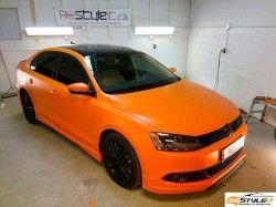 Matte Orange VW Jetta TDI wrap