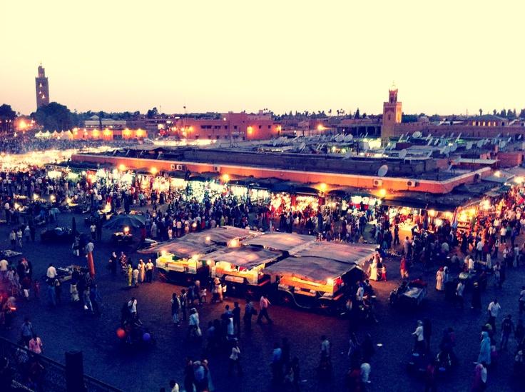 Bustling market in Marrackech
