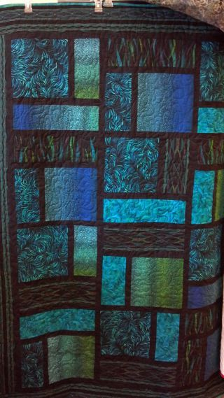 Teal and Black 'De Novo' free quilt pattern (jp)