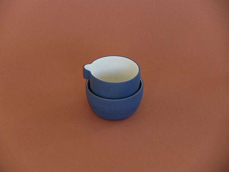 Canvas Cloth and Bowl Cast Ceramics - Milk and Sugar Navy and White porcelain