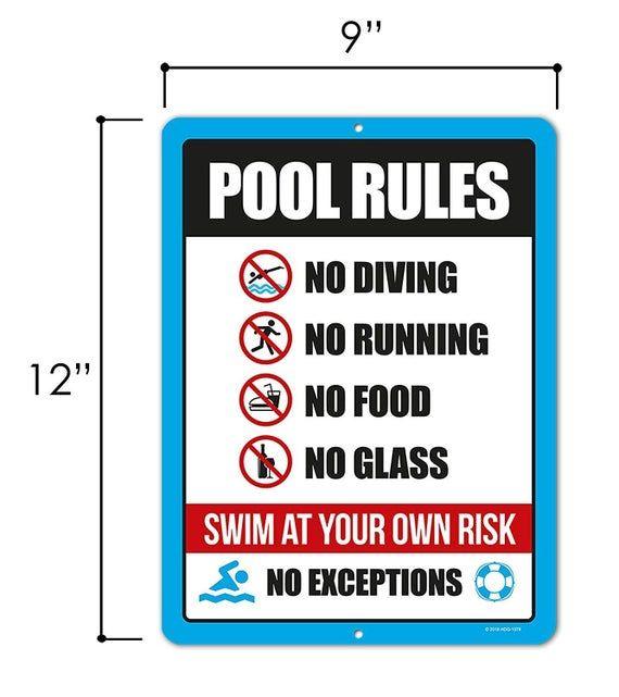 Swimming Pool Rule Sign 9 X 12 Inch Tin Sign Decor Pool Etsy In 2020 Pool Rules Sign Pool Rules Pool Signs