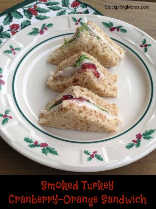 Smoked Turkey Cranberry-Orange Sandwiches are the perfect finger food and so festive for the holidays. I love the combination of turkey, cranberry and orange in one!