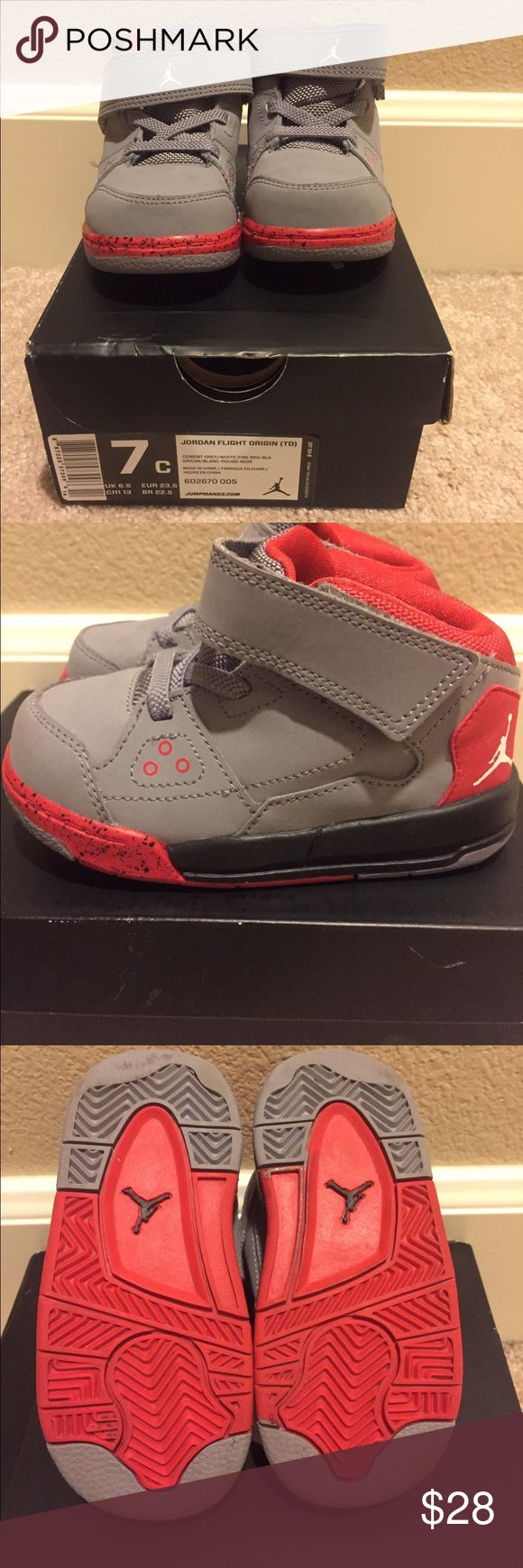 Toddler boys size 7c Jordan's flight origin shoes Size 7c toddler boys Jordans flight origin shoes.  Gently used with a small scuff that I can't get out in last picture.  Cement grey/ white/ fire red color.  Box included. Jordan Shoes