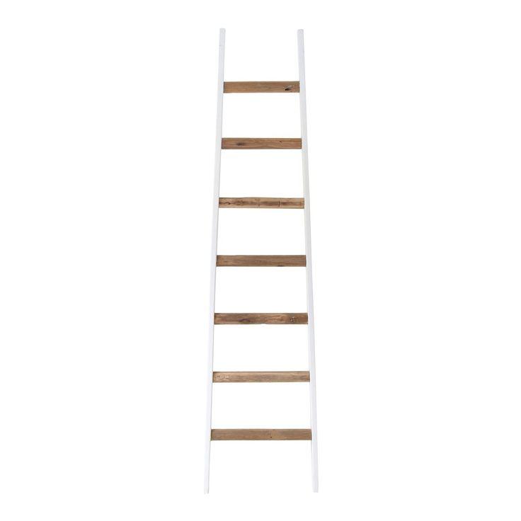 HKliving Ladder decoratief Prijs:€139  Ideaal om hangplantjes of plaids aan op te hangen Dit leuke accessoire meet H 200 x B 50 cm Stevig frame van mangohout en treden van teakhout Past perfect in een stoer en industrieel interieur!