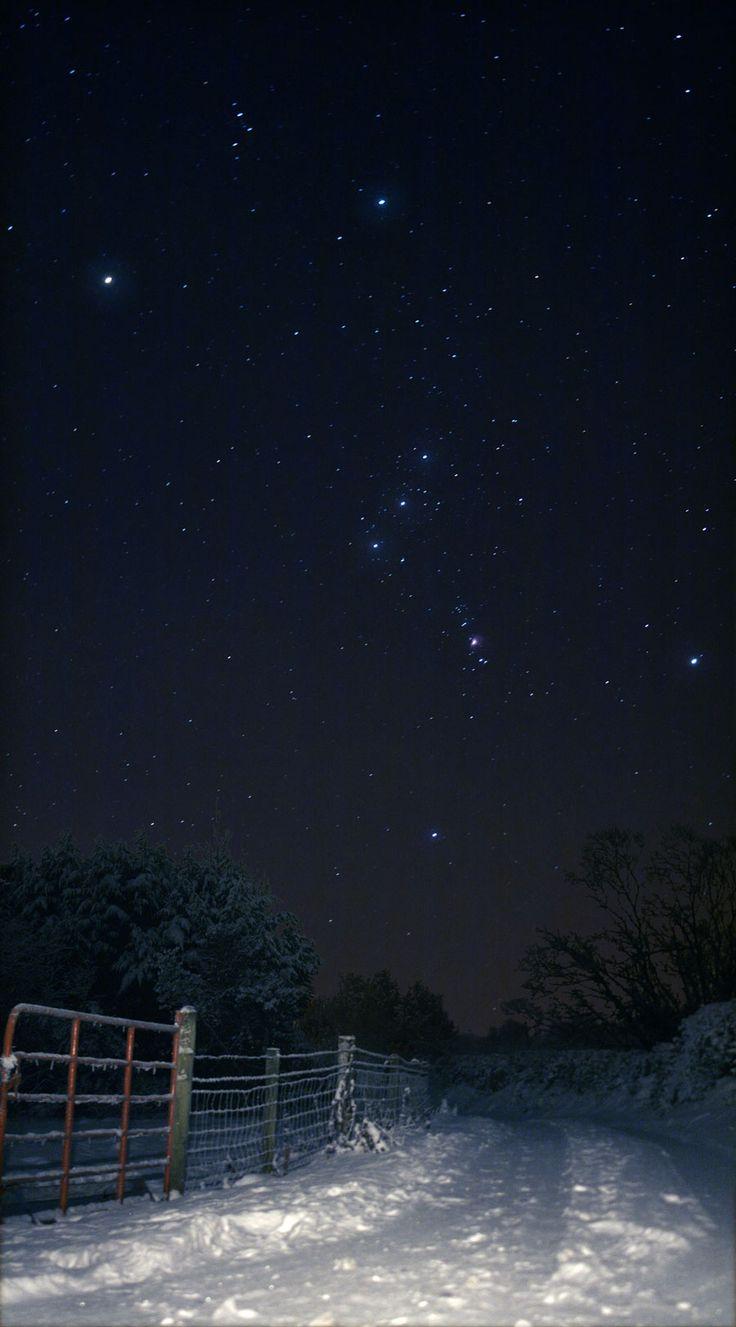 Sideways Orion Over Snowy Ireland