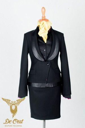 Smoking op maat voor dames, smoking jasje met broek en/of rok op maat. Tailored Tuxedo for ladies, dinner jacket with trouser or skirt.