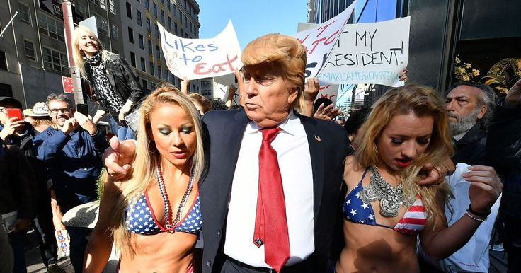 It was the latest performance art piece by British spoof photographer Alison Jackson, who took a dig at the presidential candidate over recent scandals