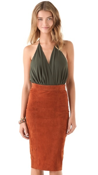 alice + olivia Suede Pencil Skirt and Draped Halter Bodysuit