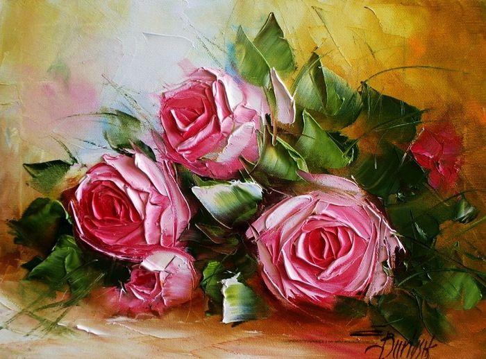 Ewa Bartosik/ Spatula çalışması çiçekler/ naturmort