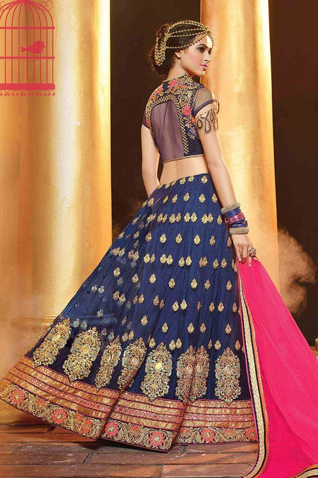 Look your ethnic best as you wear this glamorous blue and pink color lehenga choli. Buy Lehenga online - http://www.aishwaryadesignstudio.com/magnificent-blue-lehenga-pink-dupatta