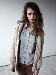 Maison's Scotch and Soda Chunky Cable Knit Long Cardigan, loopknits.com