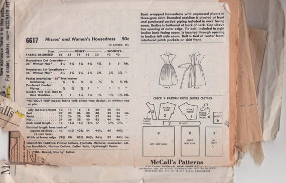 Etsy listing: McCall's 6617 - Early 60s Back-Wrap Dress Pattern.