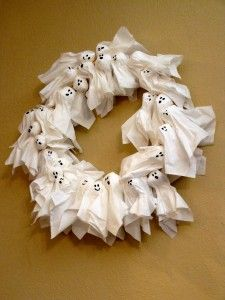 Ghostly Ghoul Wreath: Cotton Ball, Holiday, Ghosts, Halloween Crafts, Wreaths, Kid