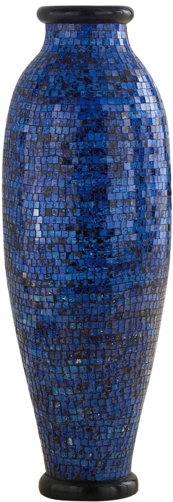 Danannstore Tall Flower Floor Vase Art Blue Decor Mosaic