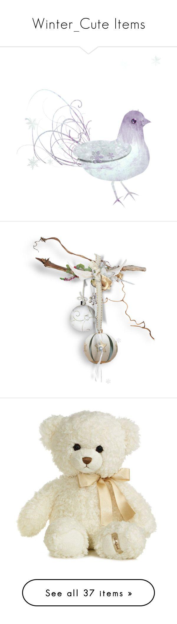Winter_Cute Items by auntiehelen on Polyvore featuring White Dove, Bells from Branch, White Stuffed Bear, Heart/Grey Bow, Bell/bow, Santa hat/bow center, window, wood floral center, snowflake fairy handbag, fairy ornament, snowy stump, merry Christmas post, wood frames, snowman decorations, bear, dove/pole, star, clock/pole, ornament center, snowmen, crystal kitty santa, manger nativity scene, santas, reindeer, owl, elves, santas bag, pointsetta, mailbox decoration, candles, snowman w/boys…