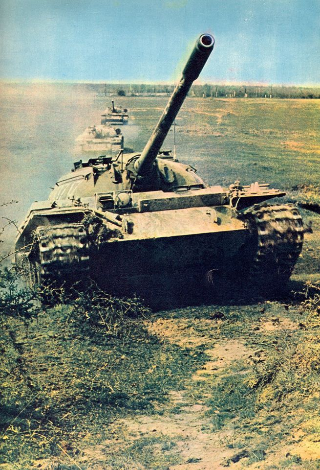Column of T-55 tanks of the Romanian Army.