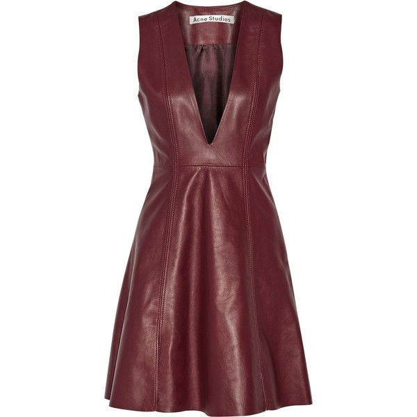 Acne Studios Lavern leather dress found on Polyvore featuring dresses, red, red circle skirt, red slip, burgundy skater skirt, red a line dress and turtleneck dress