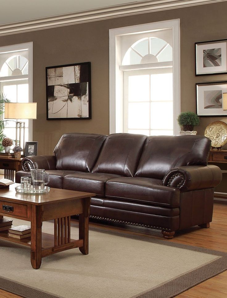Traditional Faux Leather & Wood Sofa With Rolled Arms