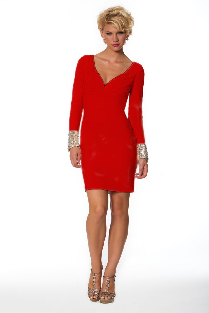 Nika 9081 - $199.99. longsleeve. vneckline. beaded. fit. short. red. dress