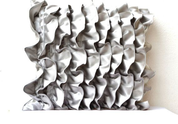 Decorative pillow in Silver Gray Satin with Ruffles by AmoreBeaute