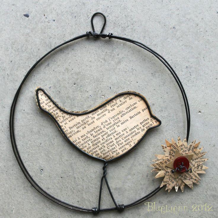 bird..wire...scrap paper art