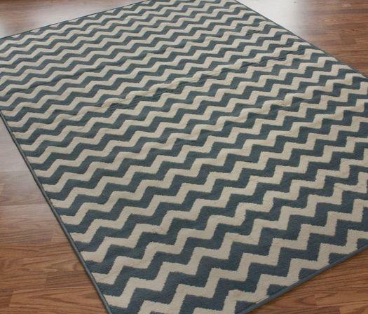 Soft Blue Chevron Pattern Area Rug Home Decor Vanity