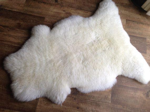 Superb White Sheepskin Rugs   Real Sheepskin XXL Size  Sheep Fleece Pelt Hide    Thick Sheep