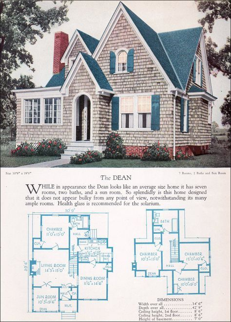 1920s Modern English Style House Plan The Dean 1928 Home Builders Catalog Vintage House Plans House Styles Vintage House