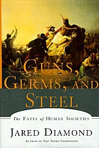 """Guns, Germs, and Steel: The Fates of Human Societies by Jared Diamond. """"The book attempts to explain why Eurasian civilizations (in which he includes North Africa) have survived and conquered others, while refuting the assumption that Eurasian hegemony is due to any form of Eurasian intellectual, moral or inherent genetic superiority. Diamond argues that the gaps in power and technology between human societies originate in environmental differences, which are amplified by various positive…"""
