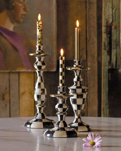 -27WT MacKenzie-Childs Courtly Check Candlesticks