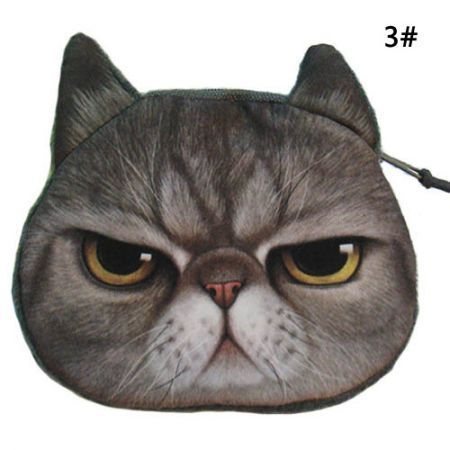 Cute Cat Face Zipper Mini Wallet 3#