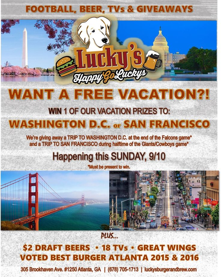 TOMORROW 9/10, you could win one of 2 FREE VACATIONS to Washington D.C. & San Francisco!✈️    Trips will be given away at the end of the Falcons game & during halftime of the Giants/Cowboys game. You must be present to win.  Come watch with us on 18 Big Screens, and enjoy one of our award winning burgers or huge wings, full bar and over 100 beers on tap!