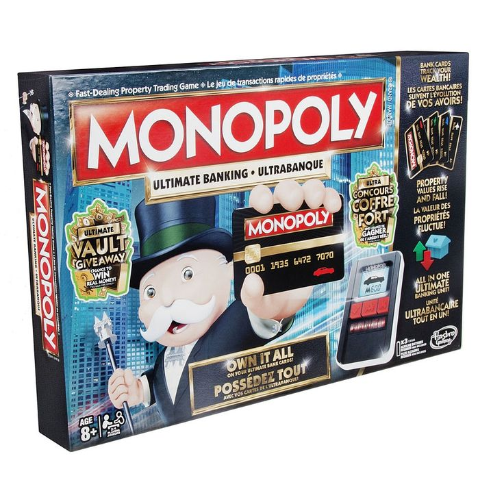 Challenge friends and family and play the Monopoly Ultimate Banking game! This game presents a modern banking version of the Monopoly game in which Monopoly money is no more! Featuring an Ultimate Banking unit with touch technology, players can instantly buy properties, set rent, and tap their way to fortune.Each player starts out with money on a bankcard when the card is placed on the Ultimate Banking unit. Throughout the game, players just tap the Ultimate Banking unit and it will…