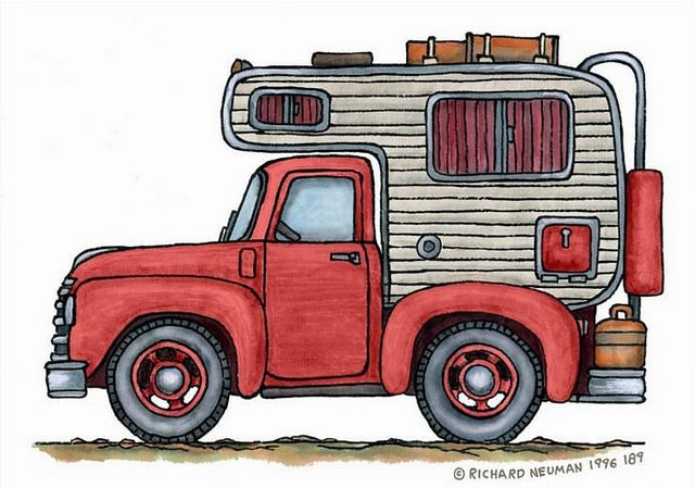 Whimsical Vintage Truck Camper (pinned by haw-creek.com)