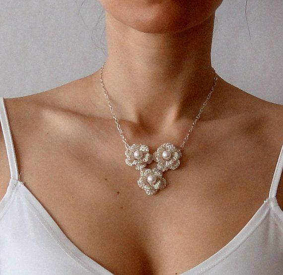 Crochet wire floral necklace