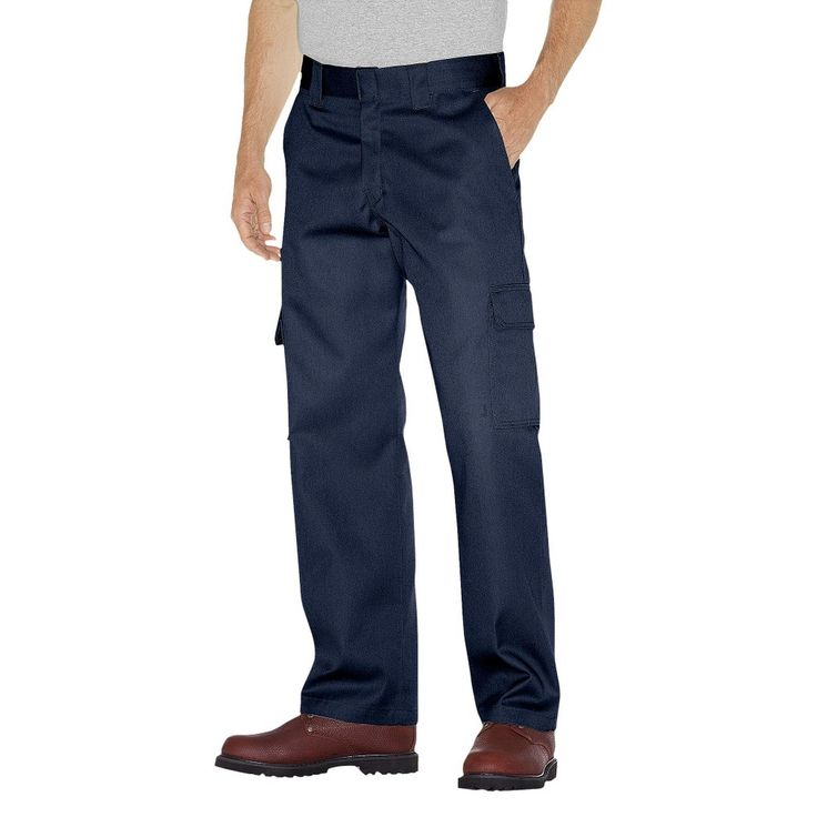 Dickies - Men's Big & Tall Relaxed Straight Fit Twill Double Knee Pants Dark Navy 44x32