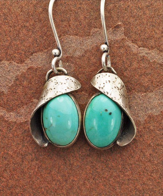 Turquoise Earrings Blue Earrings Sterling by BOBOJewelryShop, $75.00. Love these!