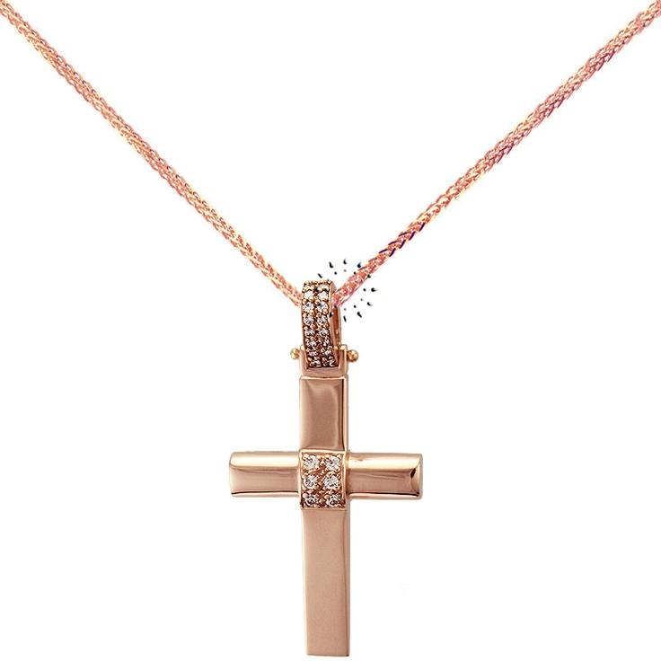 Σταυρός 14Κ Ροζ Χρυσό με Ζιργκόν της FaCaDoro  665€  http://www.kosmima.gr/product_info.php?products_id=16701