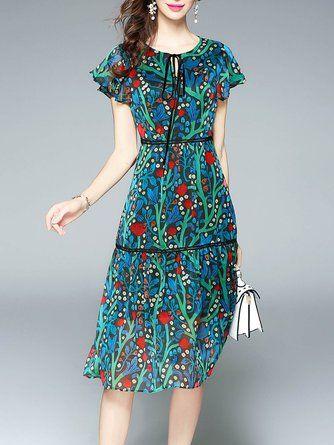 600b9f6a386 Keyhole Green A-line Daytime Casual Printed Floral Midi Dress
