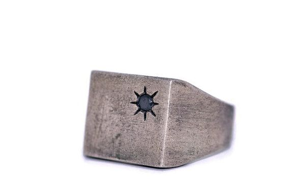 Square Silver Signet Ring-Mens Silver Signet Ring-For by galbarash
