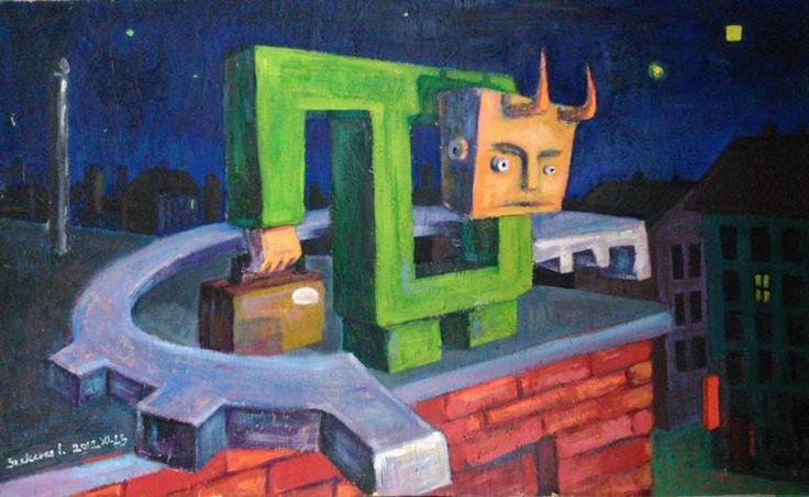 Imre Karrus Szekeres: Angel in the city - 2012. 60 x 60 cm, 42.9 x 31.5 inch Mixed, wood-fibre
