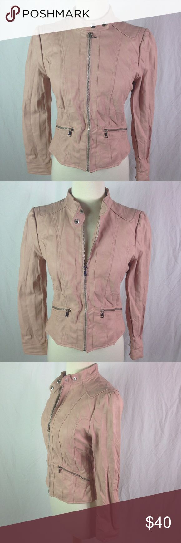 Forever XI Black River Blush Pink Moro Jacket Forever XI Black River Blush Pink Moro Jacket made from faux leather. Perfect layering piece for the fall. Great neutral color will mix and match with everything. Please ask questions before you buy, thanks! black rivet Jackets & Coats Jean Jackets