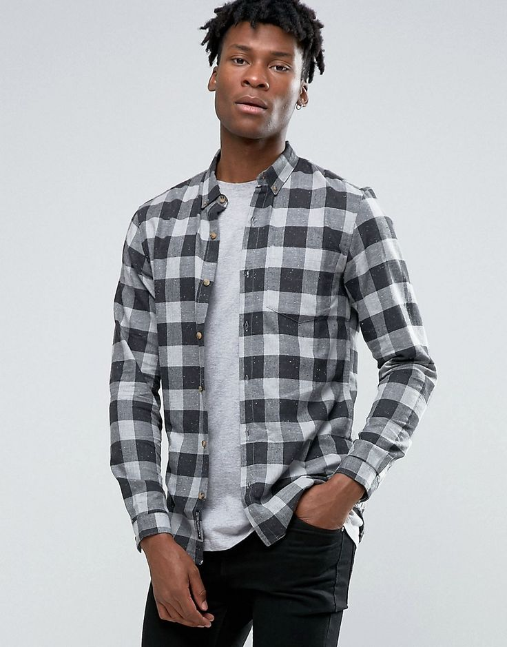 Image 1 ofPull&Bear Checked Shirt In Grey In Regular Fit