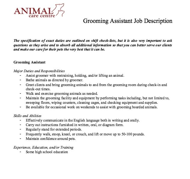 Grooming Assistant Job Description - http\/\/resumesdesign - bartender job description for resume