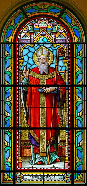 "DEC 6- Saint Nicholas Patron Saint of Children, Brides, Grooms, and Travelers Christian Saint ""Nick"" lived in Greece, after Christ's birth. He became a priest, and later Bishop of early Catholic Church. Hanging stockings orig w/St. Nicholas. Legend goes he'd toss bags of gold coins into open windows of poor homes. When a bag fell into the stocking of a child, well...soon began the tradition of hanging stockings by the chimney ""in hopes that St. Nicholas soon would be there."""
